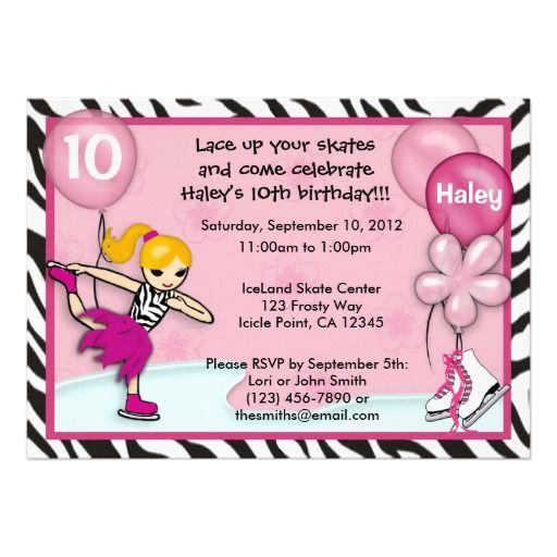 Ice Skating Birthday Invitation zebra print pink