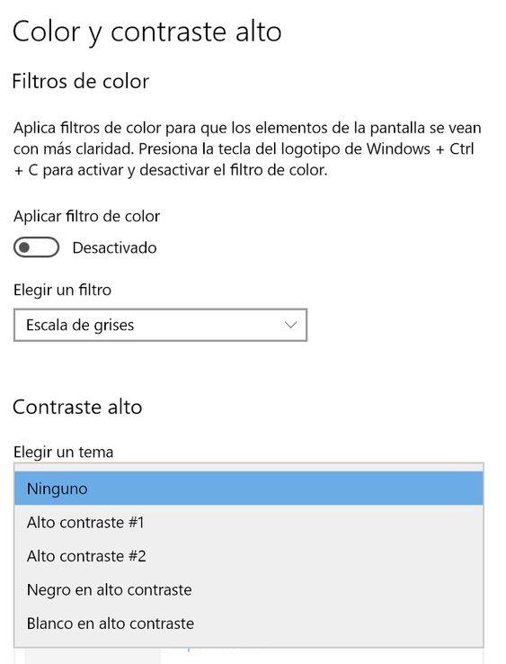 Configurar el contraste Alto en Windows 10