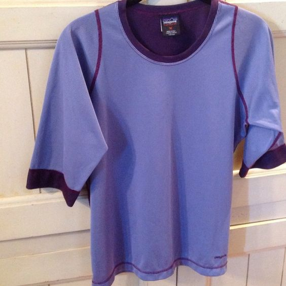 Patagonia top Patagonia capilene purple top, elbow length sleeves, 100% polyester, Made in USA, size M, very gently worn, no flaws-EUC! Patagonia Tops