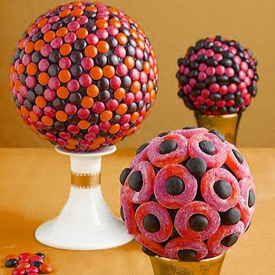 Candy Centerpieces with Styrofoam Balls