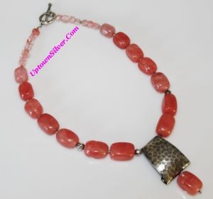 Silpada Pink Cherry Crystal 925 Sterling Silver Chunky Bead Necklace Retired Rare