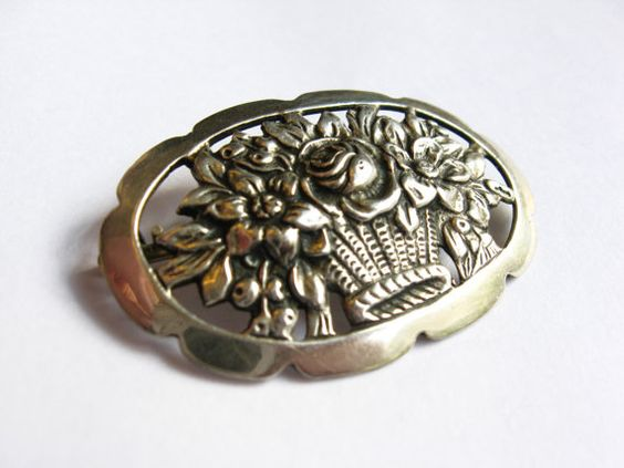 Vintage Silver Flower Basket Brooch/Pin - Vintage Jewelry by FembyDesign