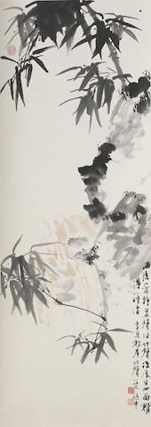 Jiang Zhaoshen (1925-1996) Bamboo, 1972 Hanging scroll, ink and color on paper, inscribed with a quatrain, dated renzi xia (1972, summer) and signed Zhaoshen with two artist's seals reading Jiang Zhaoshen yin, Jiaoyuan si yin and one collector's seal.  38 1/4 x 13 3/4in (97.3 x 35 cm) 江兆申 雨後竹聲 設色紙本 立軸 一九七二年作