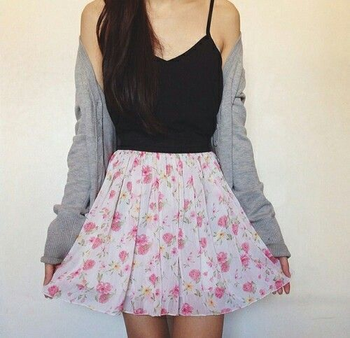 Floral skirt paired with solid colors.