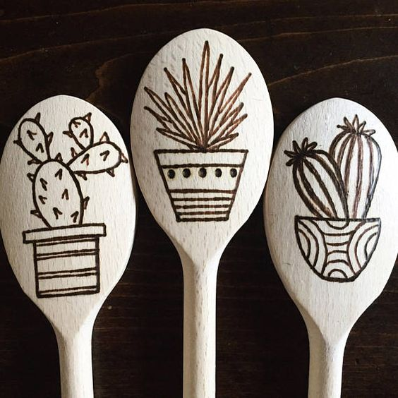 Wood burned Cookin Spoon in Succulents and Cacti: Set of 3, Custom Also Available