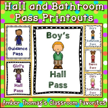 Hall and Bathroom Pass Printouts | A well, Wells and Products