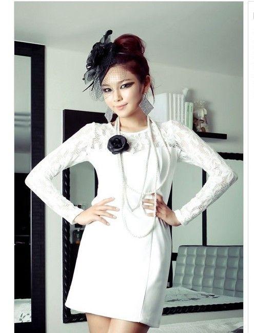 Black / White lace sleeve dress : Cute Cheap Clothing | Buy ...