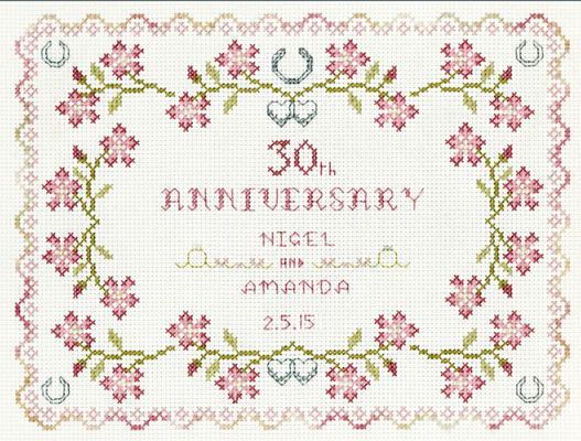Rosa Rosa Boda Aniversario Sampler Cross Stitch Kit Florashell