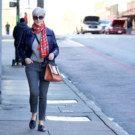 j.crew cashmere sweater, old navy rockstar jeans, talbots puffer jacket, talbots scarf, everlane loafers