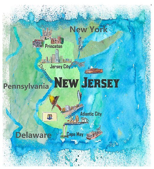 Usa New Jersey Travel Poster Map With Highlights And Favorites