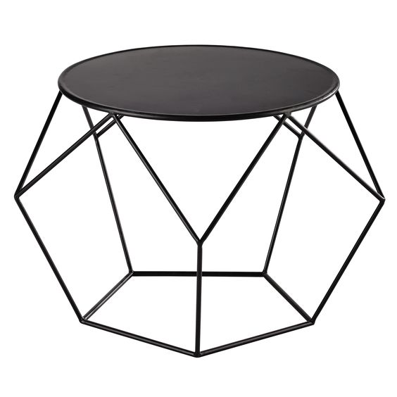 Maison du monde prism table basse ronde en m tal noire d 64 cm le d tail d - Table basse metallique ...