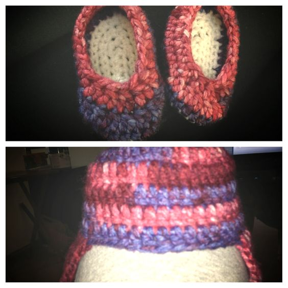 Hat with ear flaps and matching booties for baby Emily