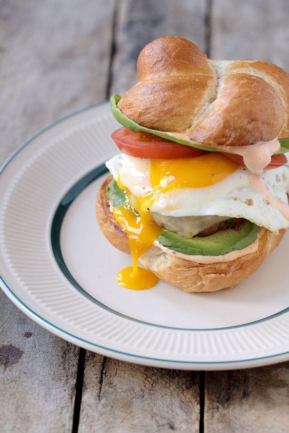 Pan-Fried Chorizo Burgers with Avocado, Fried Eggs and Spicy Mayo Recipe