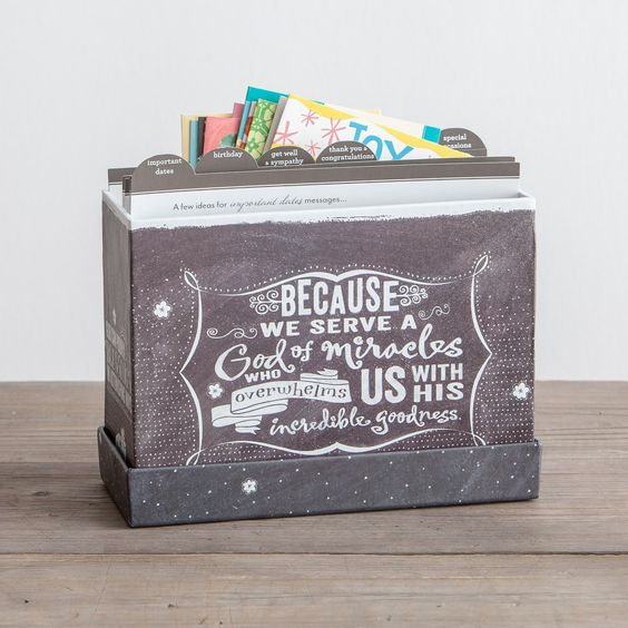We Serve a God of Miracles - Chalkboard Card Organizer with 24 All Occasion Cards