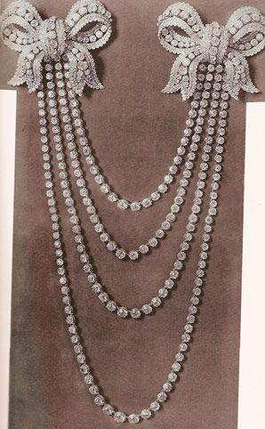 Diamond necklace, part of the French crown jewels was collier aux quartre rivieres, a four-strand diamond necklace which originally had two large shoulder bows. Set with 222 diamonds weighing a total of 363 carats.