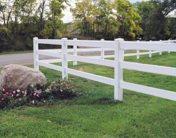 Split rail fence and white vinyl on pinterest