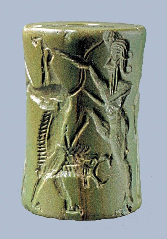 Mesopotamian Cylinder Seal, circa 2350-2150 BC