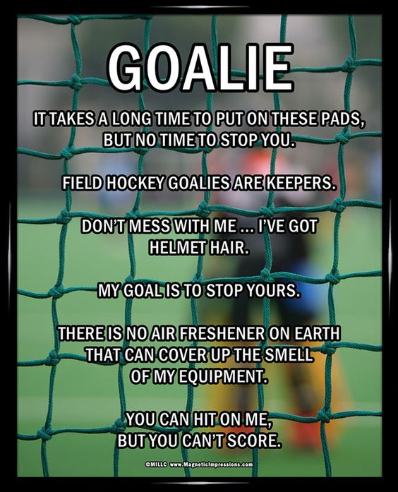 Field Hockey Goalie 8x10 Poster Print. Decorate your wall and inspire your goalie on a daily basis with this funny motivational gift.