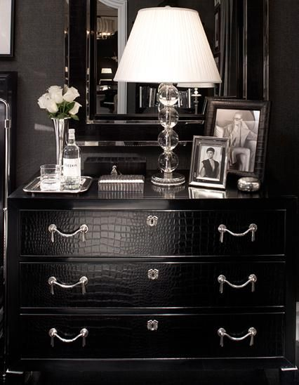 For Him: Black aligator print dresser: