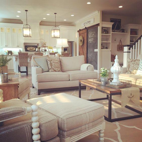 Interior Design Open Kitchen Living Room: Farmhouse Living Room, Open Concept To Kitchen. Interior