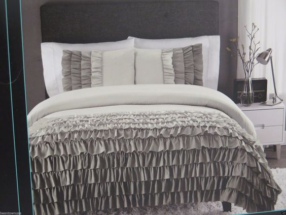 Cynthia Rowley Gray Ombre Ruffled Comforter Sham Set Twin Twin XL 2 PC   eBay