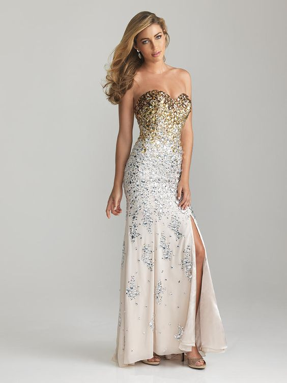 Gold, cream, and silver sparkling dress with a mid-thigh slit and strapless sweetheart neckline