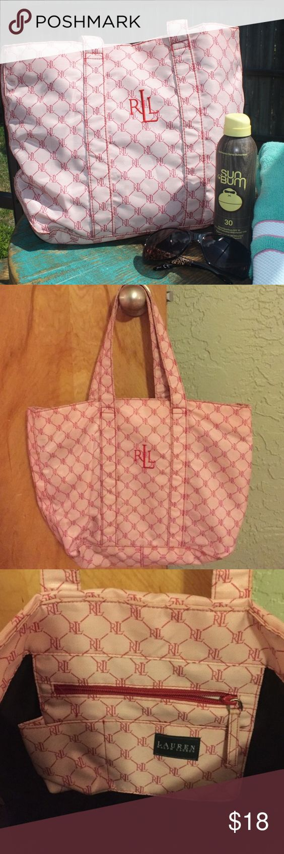 Ralph Lauren Tote Bag Stylish pink and red tone tote bag from Ralph Lauren. Has been previously loved and has some wear as shown in the photos. Still has plenty of life left. This bag is just waiting for someone to take it to them beach! Lauren Ralph Lauren Bags Totes