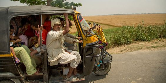 Zig zagging through camels, horses, people, buses and more with a Rickshaw