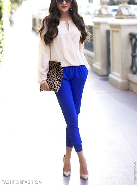 Cream blouse + royal blue cropped trousers + leopard clutch + nude pointy courts