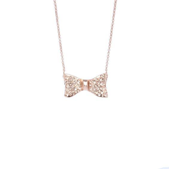 Colar de Laço em Ouro Rosé com cristais Swarovski Elements® | Rose Gold Bow Necklace with Swarovski Elements® crystals