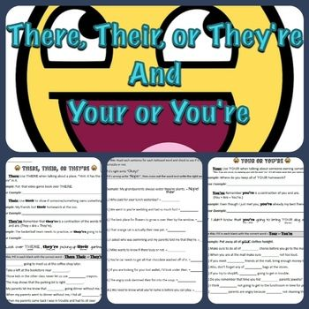 There, Their, or They're + Your or You're Worksheet Packet ...