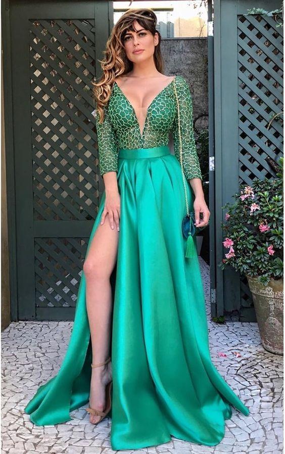 modelos de vestido de formatura verde