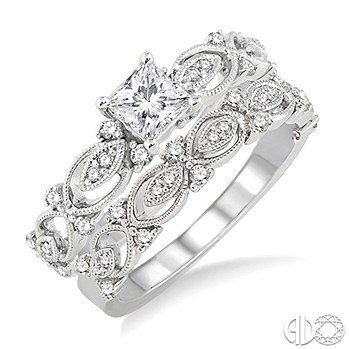 14K White Gold and Diamond Elegance Engagement Ring Set 3/4 Ctw
