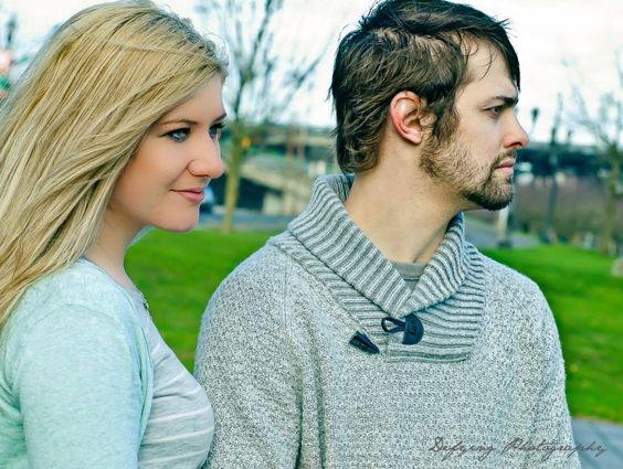 Looking off engagement photos by: defying photography