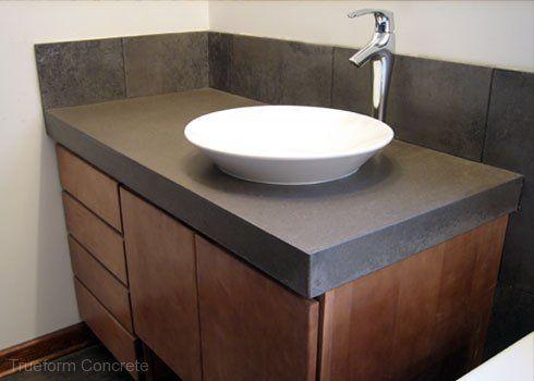 Concrete vanity top with vessel sink concrete vanity - Custom bathroom countertops with sink ...