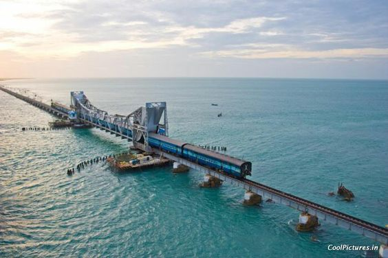 The Pamban Bridge links the Rameswaram Island with the mainland India