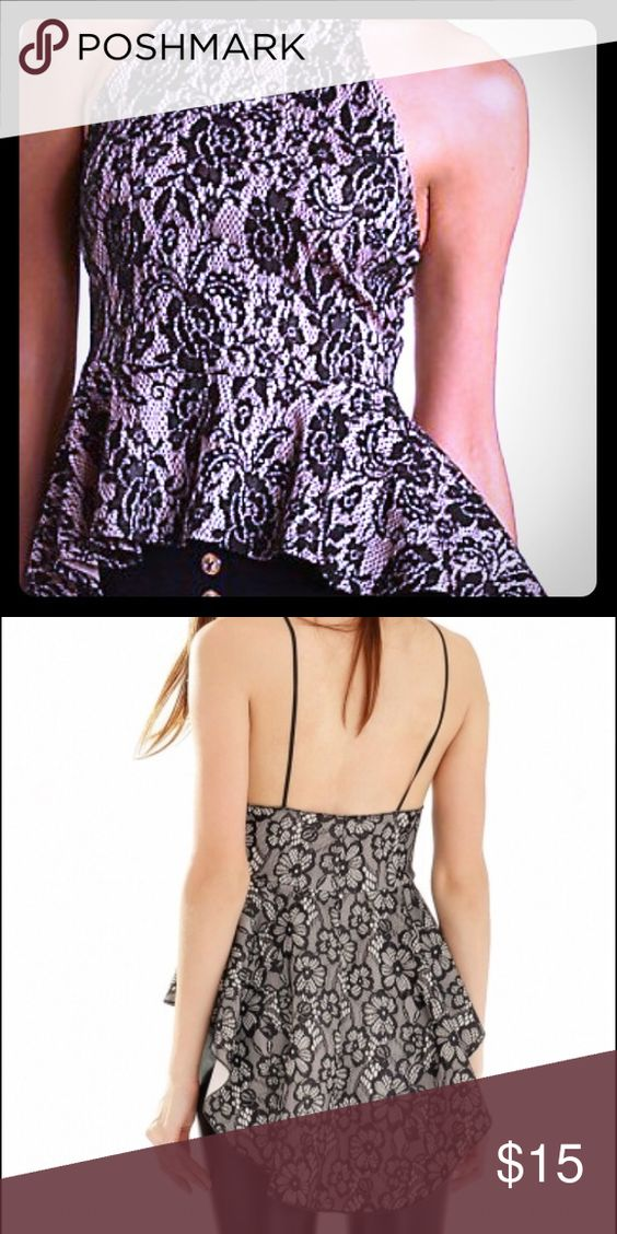 High low nude illusion peplum top Women's top with floral lace with nude detailing. Tops Tank Tops