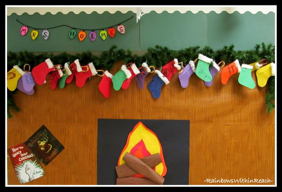 Christmas+Bulletin+Board+with+Stockings+on+Fireplace.jpg 1,600×1,090 pixels