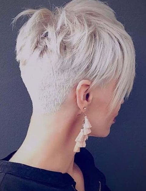 Grey Hair Back Undercut Pixie Hairstyle With Long Fringe In 2020 Pixie Hairstyles Blonde Haircuts Trendy Short Hair Styles