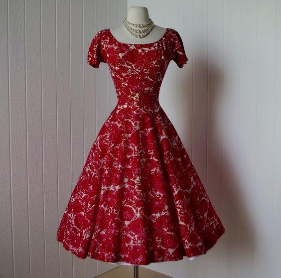 1950s chrysanthemum print dress - Vintage - Pinterest - Lace ...