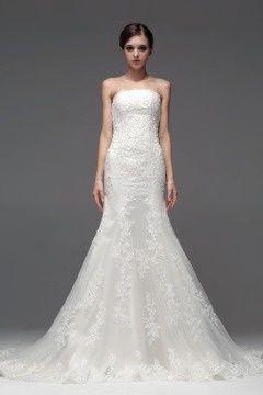 Stunning Organza Strapless Lace Long Wedding Dress