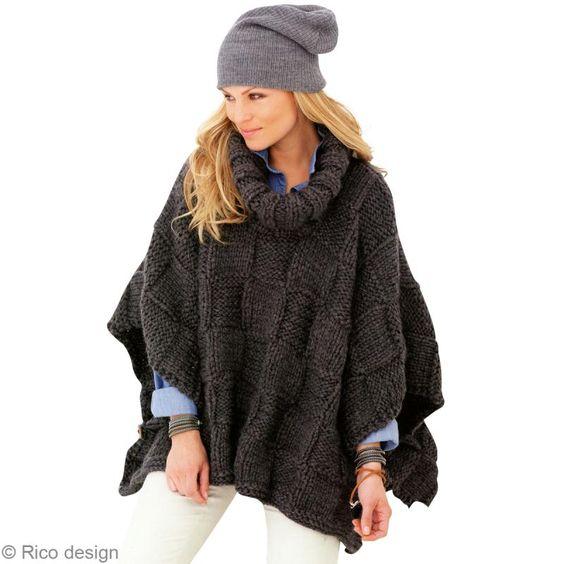 exemple patron gratuit tricot poncho femme