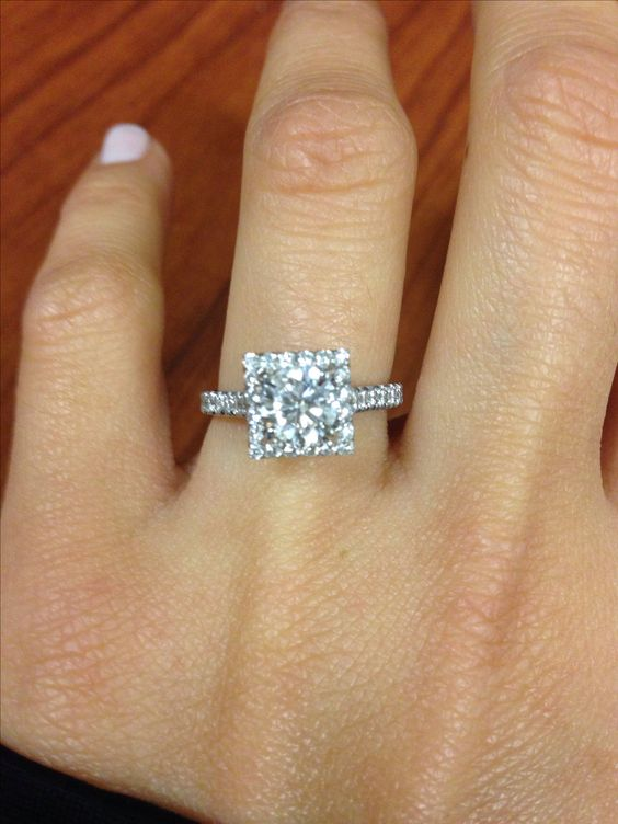 I LOVE my ring Round cut center diamond square halo engagement ring