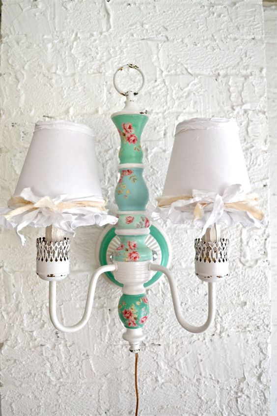 Gorgeous color Shabby chic flower wooden wall lamp by Anniesimages, $118.00
