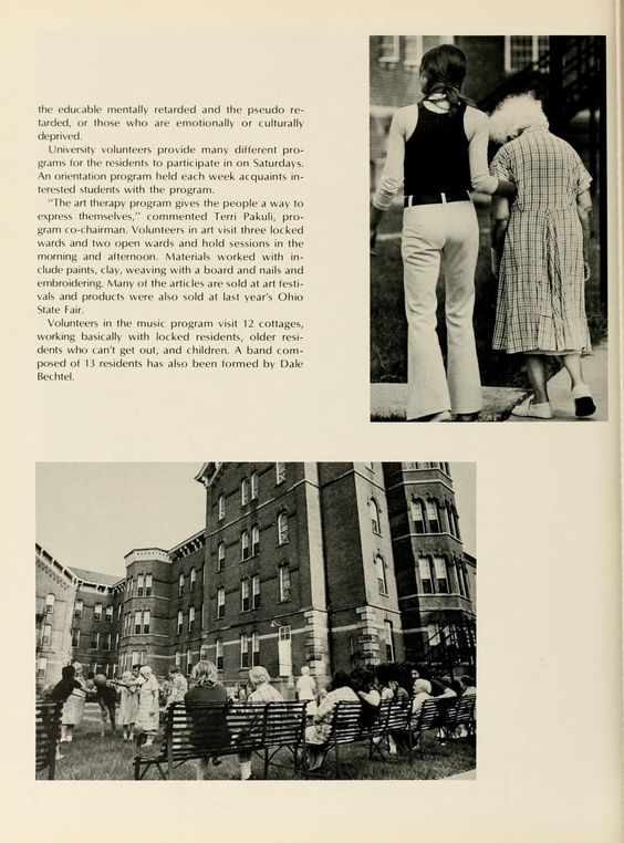 "Athena yearbook, 1972. When the Ridges was still operating as the Athens Mental Health Center, students would come volunteer.  ""University volunteers provide many different programs for residents to participate in on Saturdays."" :: Ohio University Archives"