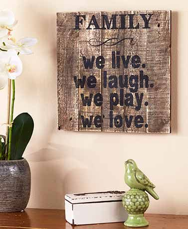 Rustic just got easier with  this plank wood sign. Express how much family matters to you in your own personal style.
