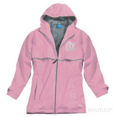 Monogrammed LIGHT PINK New England Rain Jacket   MARLEYLILLY