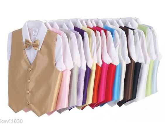 Baby & Boys Vest & Tie Set w/ Clip-On Bowtie Choice Of 21 Colors 3M-14, 740 #VestTie #WeddingFormalGiftDressy