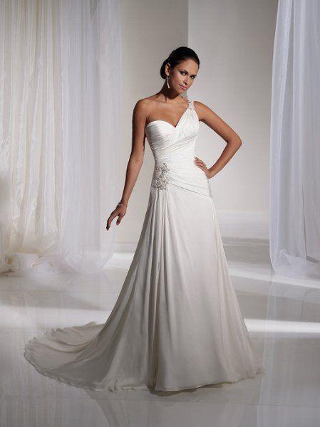 Ivory White A-line Beaded Floor One-Shoulder Ruching Sheath Sophia Tolli Swwetheart Wedding Dress