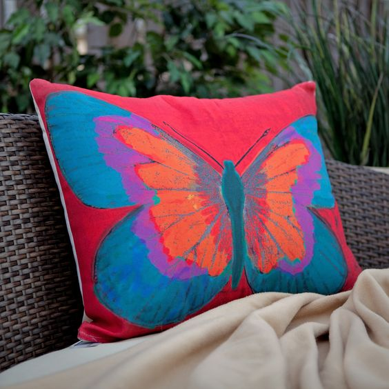 Magnolia Casual Butterfly Print Pillow | www.hayneedle.com